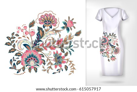 Embroidery Colorful Trend Floral Pattern Vector Stock Vector 2018