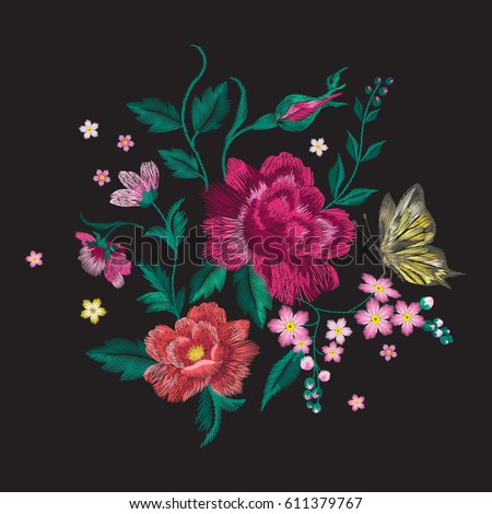 Embroidery Colorful Trend Floral Pattern Butterfly Stock Vector