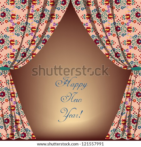 Embroidery curtain with message - stock vector