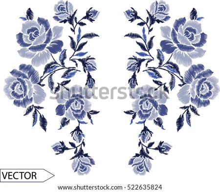 Embroidery Ethnic Flowers Neck Line Flower Stock Vector Hd Royalty