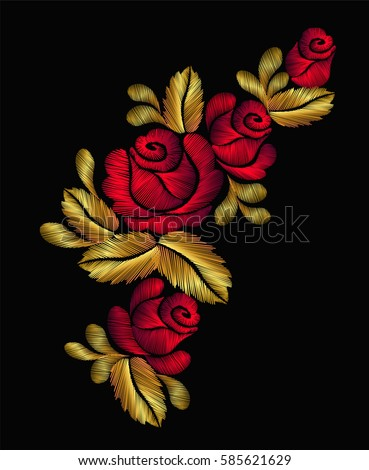 Embroidery flower necklace traditional ornament decoration roses leaves rich glowing golden gold design vector illustration vintage retro style design