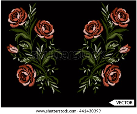 embroidery flowers graphics designs - stock vector