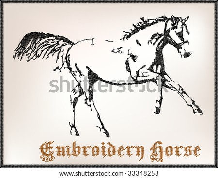embroidery horse - stock vector