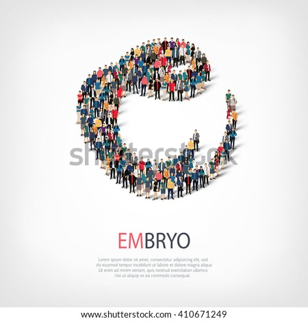 embryo people sign 3d - stock vector
