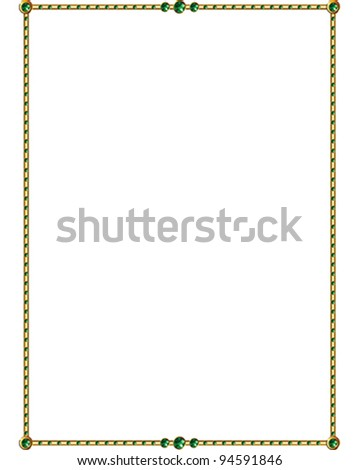 Emerald and Gold vector Border - stock vector