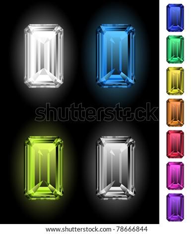 Emerald-cut gemstones collection - stock vector