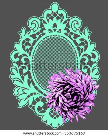 Emerald Frames. Flower. - stock vector