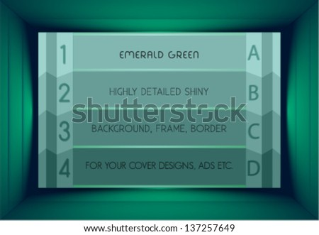 emerald green stylish shiny background, board, plate - stock vector