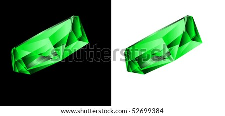 Emerald on a black and white background. A vector illustration - stock vector