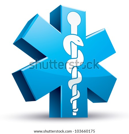 Emergency ambulance medicine symbol, 3d vector icon. - stock vector