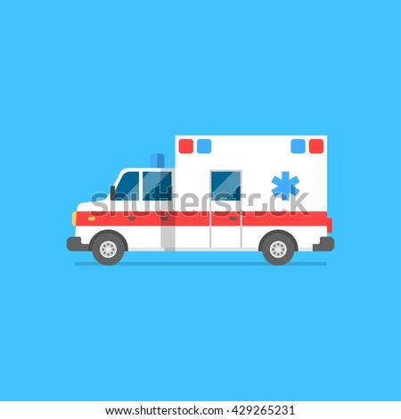 Emergency ambulance vector illustration. Medical vehicle. Ambulance car in flat style - stock vector