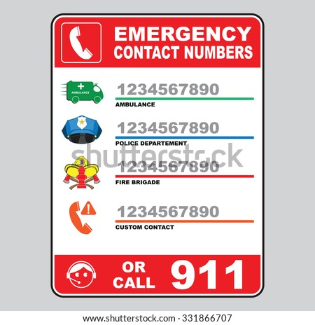 Emergency Call Number Sign Ambulance Police Stock Vector 331866707 ...