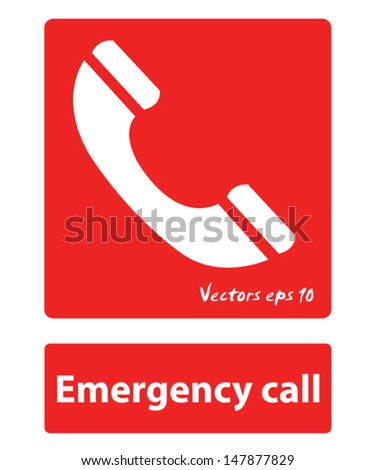 emergency call sign  - stock vector