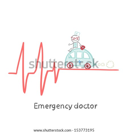 Emergency doctor traveling by car on ECG - stock vector