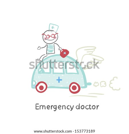 Emergency doctor travels by car - stock vector