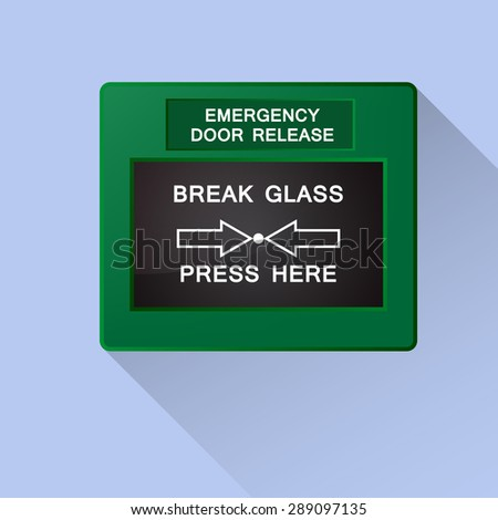 emergency door release - stock vector