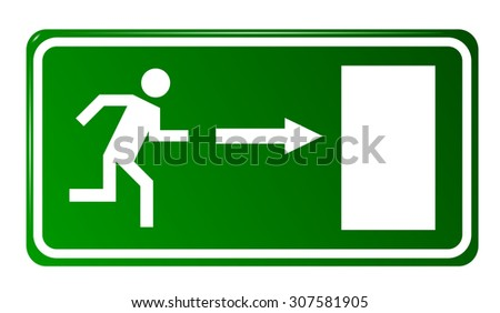 Emergency exit door, sign with human figure - stock vector