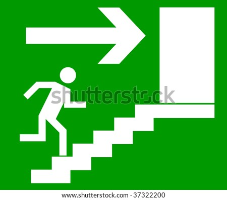 Emergency exit door, sign with human figure on stairs, vector - stock vector