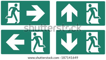 emergency exit green label isolated vector illustration - left right up down set - stock vector
