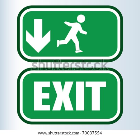 EMERGENCY EXIT SIGN - stock vector