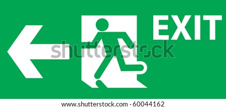 EMERGENCY EXIT SIGN LEFT SIDE - stock vector