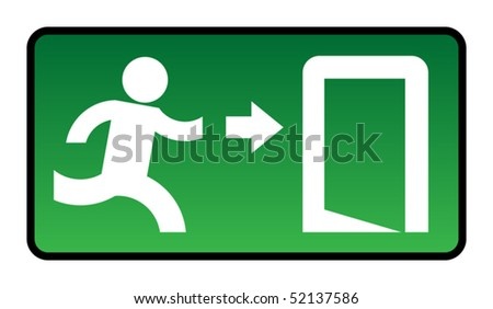 Emergency exit sign, vector illustration - stock vector
