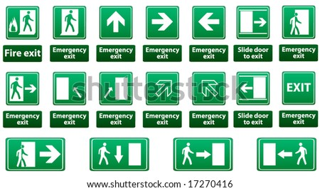 emergency exit sign vector pack - FULL GREEN VERSION - stock vector