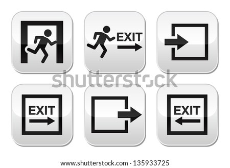 Emergency exit vector buttons set - stock vector