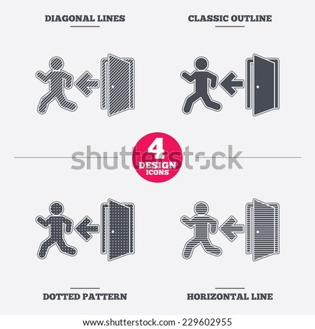 Emergency exit with human figure sign icon. Door with left arrow symbol. Fire exit. Diagonal and horizontal lines, classic outline, dotted texture. Pattern design icons.  Vector - stock vector