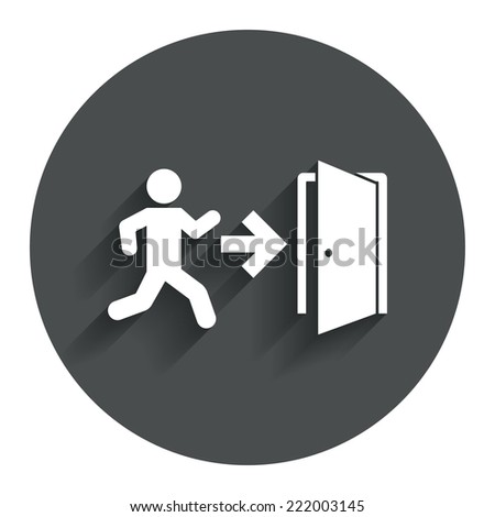 Emergency exit with human figure sign icon. Door with right arrow symbol. Fire exit. Circle flat button with shadow. Modern UI website navigation. Vector - stock vector