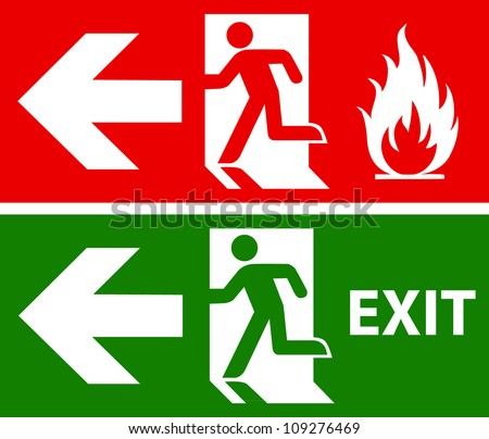 Emergency fire exit door and exit door - stock vector