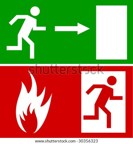 Emergency fire exit door and exit door, sign with human figure - stock vector