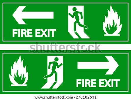 Emergency fire exit door signs - stock vector
