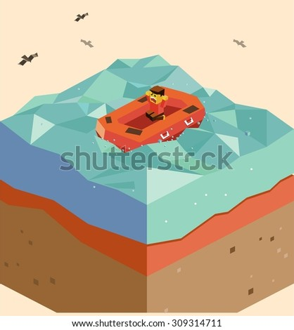 Emergency Life Boat on the ocean - stock vector