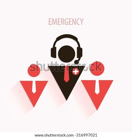 Emergency medical call center poster or art - stock vector