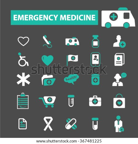 emergency medicine  icons, signs vector concept set for infographics, mobile, website, application  - stock vector