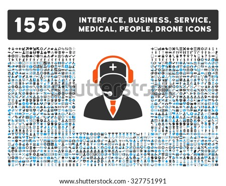 Emergency Operator and other web interface, business tools, people poses, medical service vector icons. Style is flat symbols, bicolored, rounded angles, white background.