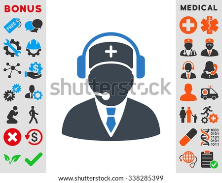 Emergency Operator vector icon with bonus. Style is bicolor flat symbol, smooth blue colors, rounded angles, white background. - stock vector
