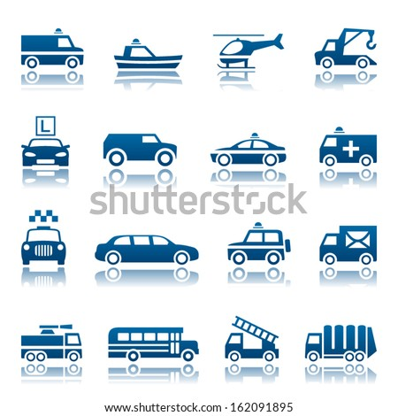 Emergency rescue and other special transportation icon set - stock vector