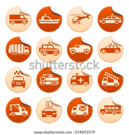 Emergency rescue and other special transportation stickers - stock vector