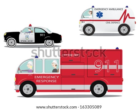 Emergency services. Set of the car in vector./Emergency cars set. - stock vector