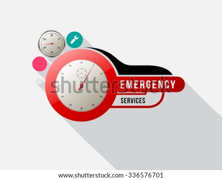 Emergency services with Odometer. Vector illustration. - stock vector