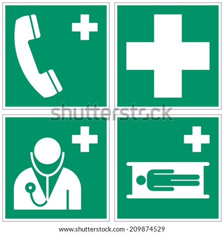 Emergency telephone, First aid, Doctor, Stretcher safety signs (eps 10) - stock vector