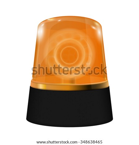 Emergency Yellow flashing light.  Warning siren. Vector isolated on white background.