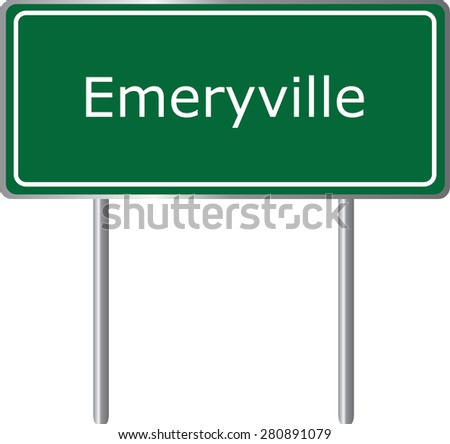 Emeryville , California, road sign green vector illustration, road table, USA city - stock vector