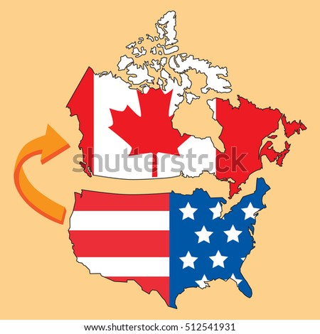 Emigrate Canada United States America Map Stock Vector - Us canada map vector