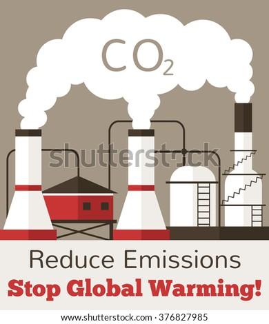 Emission. Vector flat illustration - stock vector