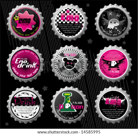Emo bottle caps. To see similar, please VISIT MY GALLERY.