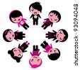 Emo kids circle isolated on white - stock vector