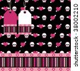 emo style seamless pattern with hearts and skulls, tags and border - stock vector